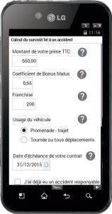 Capture d'écran de l'application Bonus Malus